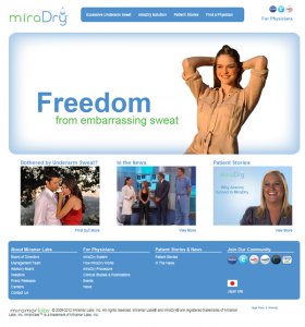 miraDry website screenshot